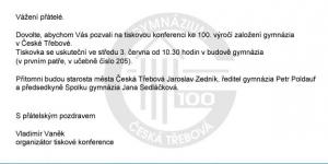 Pozvánka na výročí českotřebovského gymnázia